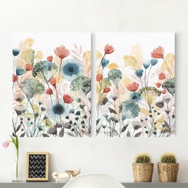 Leinwandbild 2-teilig - Wildblumen im Sommer Set I - Hoch 4:3