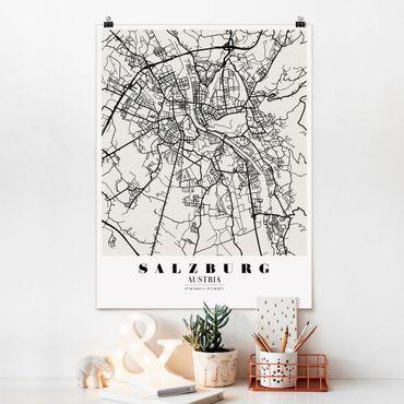 Poster - Stadtplan Salzburg - Klassik - Hochformat 3:4