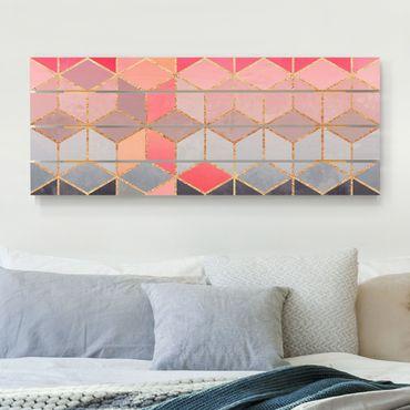 Holzbild - Elisabeth Fredriksson - Buntes Pastell goldene Geometrie - Querformat 2:5
