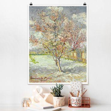 Poster - Vincent van Gogh - Blühende Pfirsichbäume - Hochformat 3:4