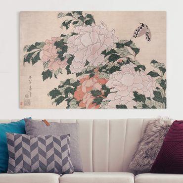 Leinwandbild - Katsushika Hokusai - Rosa Pfingstrosen mit Schmetterling - Querformat 2:3