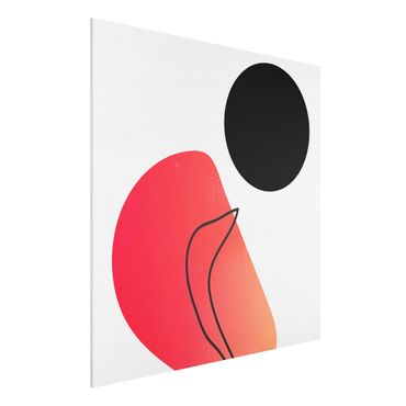 Forex Fine Art Print - Abstrakte Formen - Schwarze Sonne - Quadrat 1:1