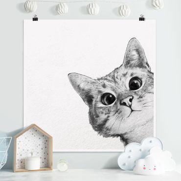 Poster - Illustration Katze Zeichnung Schwarz Weiß - Quadrat 1:1