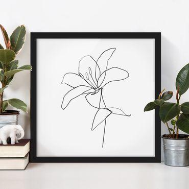 Bild mit Rahmen - Line Art Blüte Schwarz Weiß - Quadrat 1:1