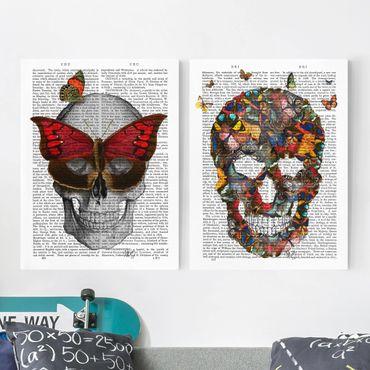 Leinwandbild 2-teilig - Grusellektüre - Schmetterlingsmaske Set I - Hoch 4:3