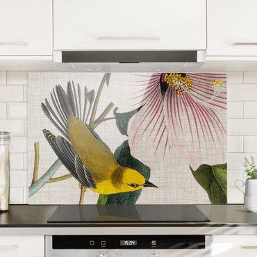 Spritzschutz Glas - Vogel auf Leinen Gelb I - Querformat - 3:2