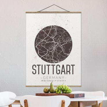 Stoffbild mit Posterleisten - Stadtplan Stuttgart - Retro - Hochformat 4:3