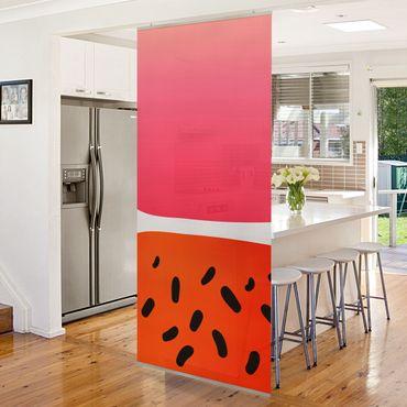 Raumteiler - Abstrakte Formen - Melone und Rosa - 250x120cm