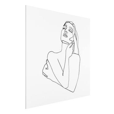 Forex Fine Art Print - Line Art Frau Oberkörper Schwarz Weiß - Quadrat 1:1