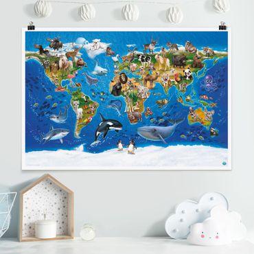 Poster Kinderzimmer - Animal Club International - Weltkarte mit Tieren - Querformat 2:3