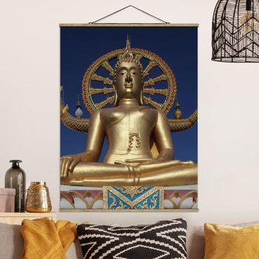 Stoffbild mit Posterleisten - Big Golden Buddha - Hochformat 4:3