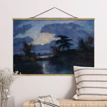 Stoffbild mit Posterleisten - Otto Modersohn - Mondnacht im Teufelsmoor - Querformat 3:2