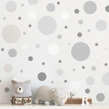 Wandtattoo - Punkte Konfetti Grau Set