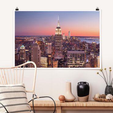 Poster - Sonnenuntergang Manhattan New York City - Querformat 2:3