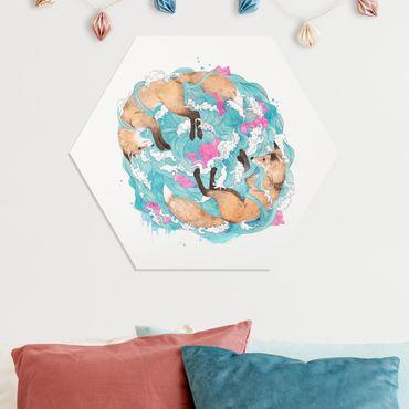 Hexagon Bild Forex - Illustration Füchse und Wellen Malerei