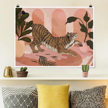 Poster - Illustration Tiger in Pastell Rosa Malerei - Querformat 3:4