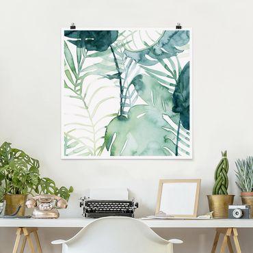 Poster - Palmwedel in Wasserfarbe II - Quadrat 1:1