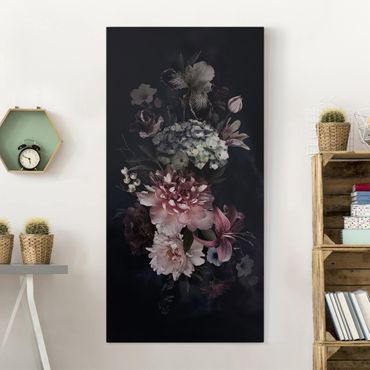 Leinwandbild - Blumen mit Nebel auf Schwarz - Hochformat 2:1