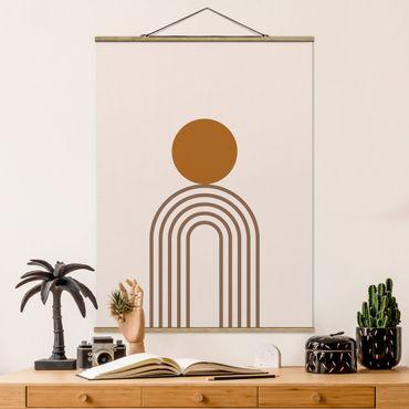 Stoffbild mit Posterleisten - Line Art Kreis und Linien Kupfer - Hochformat 3:4