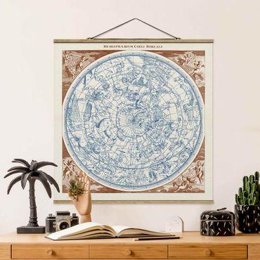 Stoffbild mit Posterleisten - Vintage Sternenkarte Nördliche Hemissphere - Quadrat 1:1
