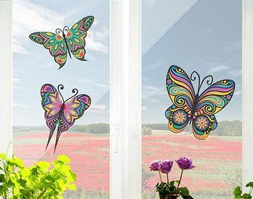 Fensterfolie - Fenstersticker No.BP23 Mandala Schmetterlinge - Fensterbilder