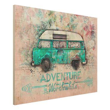 Holzbild - Bulli Adventure Collage Pastell - Querformat 3:4