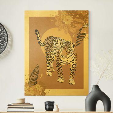 Leinwandbild Gold - Safari Tiere - Leopard - Hochformat 3:4