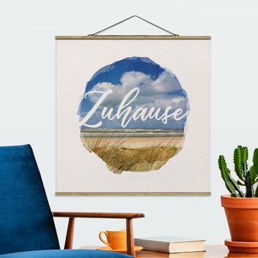 Stoffbild mit Posterleisten - Wasserfarben - Zuhause - Quadrat 1:1