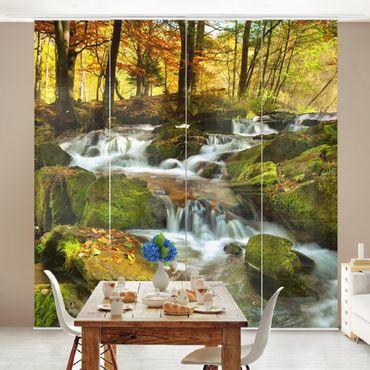 Schiebegardinen Set - Wasserfall herbstlicher Wald - Flächenvorhänge