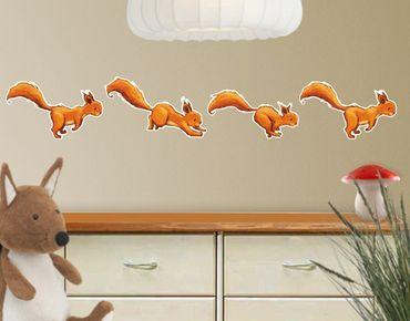 Wandtattoo Wald Babyzimmer Einhörnchen-Parade