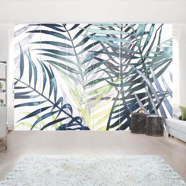 Schiebegardinen Set - Exotisches Blattwerk - Palme - Flächenvorhang