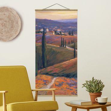 Stoffbild mit Posterleisten - Landschaft am Nachmittag I - Hochformat 2:1