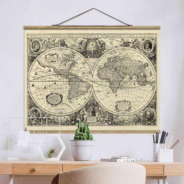 Stoffbild mit Posterleisten - Vintage Weltkarte Antike Illustration - Querformat 3:4