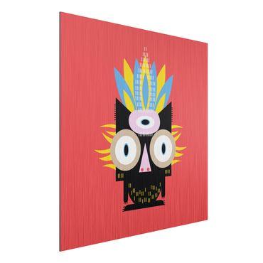 Aluminium Print gebürstet - Collage Ethno Monster - Katze - Quadrat 1:1