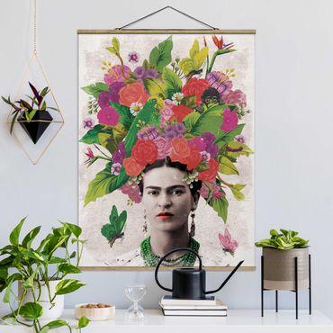 Stoffbild mit Posterleisten - Frida Kahlo - Blumenportrait - Hochformat 4:3