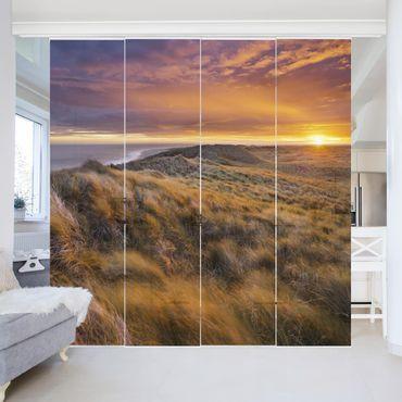 Schiebegardinen Set - Sonnenaufgang am Strand auf Sylt - Flächenvorhänge