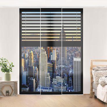Schiebegardinen Set - Fensterausblick Jalousie - Sonnenaufgang New York - Flächenvorhänge