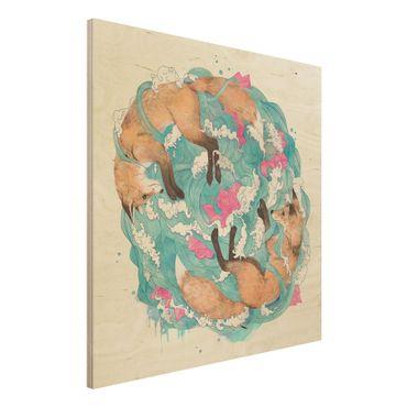 Holzbild - Illustration Füchse und Wellen Malerei - Quadrat 1:1