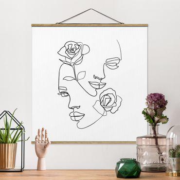 Stoffbild mit Posterleisten - Line Art Gesichter Frauen Rosen Schwarz Weiß - Quadrat 1:1
