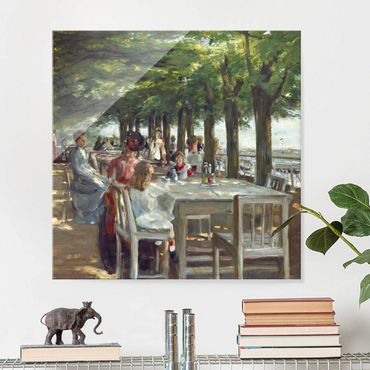 Glasbild - Max Liebermann - Terrasse des Restaurants Jacob - Quadrat 1:1