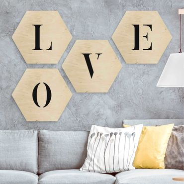 Hexagon Bild Holz 4-teilig - Buchstaben LOVE Schwarz Set II