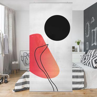 Raumteiler - Abstrakte Formen - Schwarze Sonne - 250x120cm