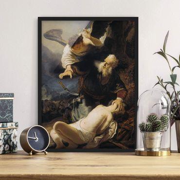 Bild mit Rahmen - Rembrandt van Rijn - Die Opferung Isaaks - Hochformat 3:4