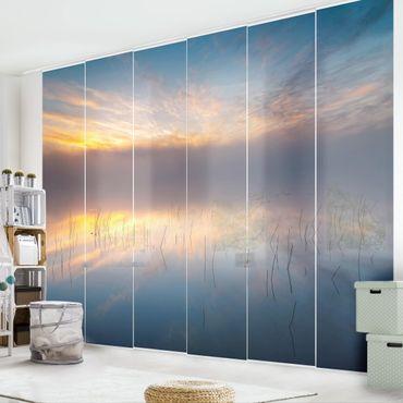 Schiebegardinen Set - Sonnenaufgang schwedischer See - Flächenvorhang