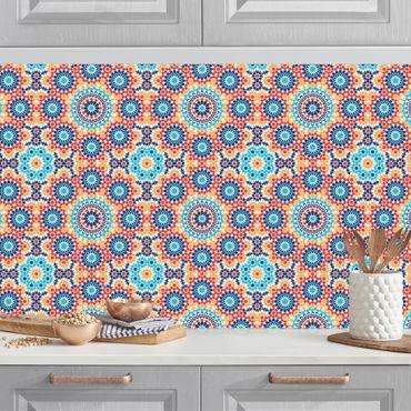 Küchenrückwand - Orientalisches Muster mit bunten Blumen