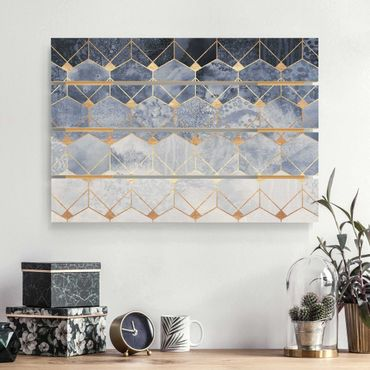 Holzbild - Elisabeth Fredriksson - Blaue Geometrie goldenes Art Deco - Querformat 2:3
