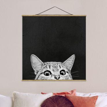 Stoffbild mit Posterleisten - Laura Graves - Illustration Katze Schwarz Weiß Zeichnung - Quadrat 1:1