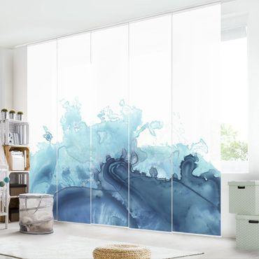Schiebegardinen Set - Welle Aquarell Blau I - Flächenvorhang