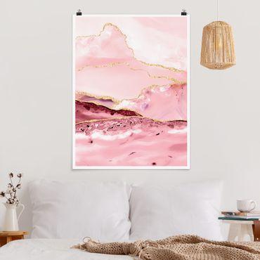 Poster - Abstrakte Berge Rosa mit Goldene Linien - Hochformat 4:3