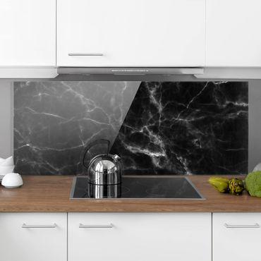 Spritzschutz Glas - Nero Carrara - Panorama - 5:2